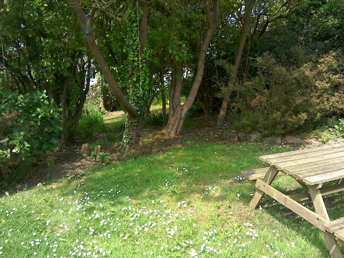 A lawn with picnic bench and trees in the background