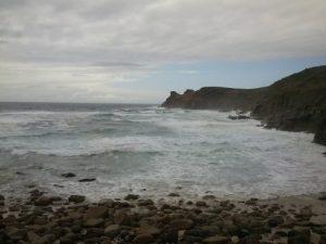 Nanjizal beach at mid-tide.
