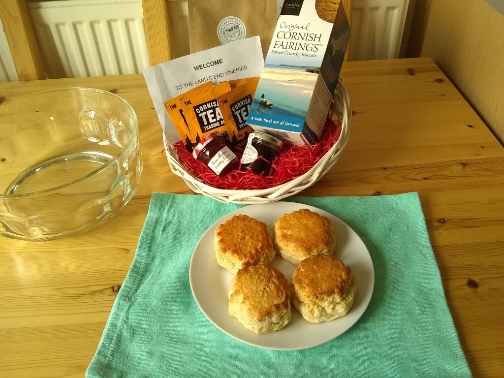 Picture of welcome basket of Cornish produce.