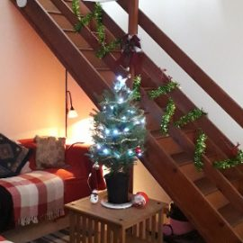 View of Christmas tree and stair garland.